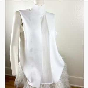 Vince White Turtleneck Tank Top with Pleating